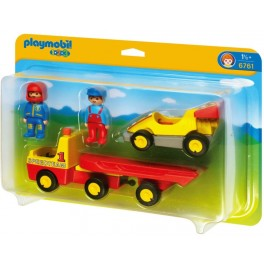 PLAYMOBIL 6761 1.2.3 - Voiture De Course Et Camion De Transport