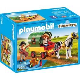 PLAYMOBIL 6948 Country - Enfants Avec Chariot Et Poney